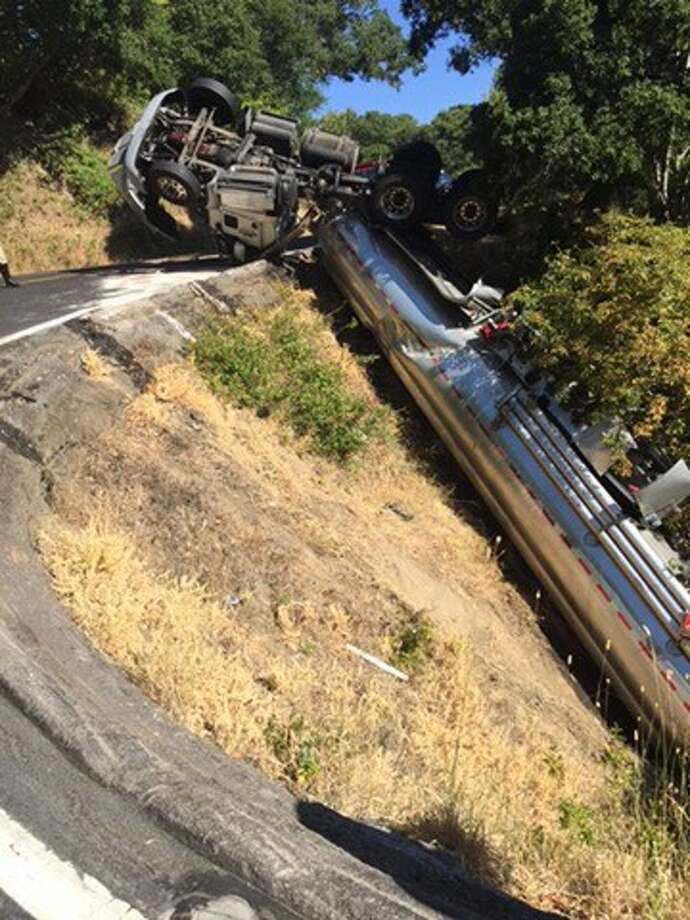 This tanker truck overturned on Lucas Valley Road on Sunday morning. Photo: Marin County Sheriffs Office