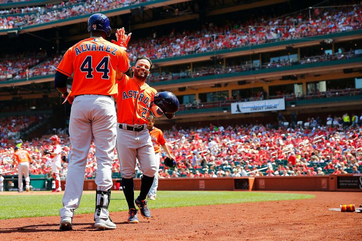 ST LOUIS, MO - JULY 28: Jose Altuve #27 of the St. Louis Cardinals is congratulated after hitting a two-run home run against the St. Louis Cardinals in the fifth inning at Busch Stadium on July 28, 2019 in St Louis, Missouri. (Photo by Dilip Vishwanat/Getty Images)