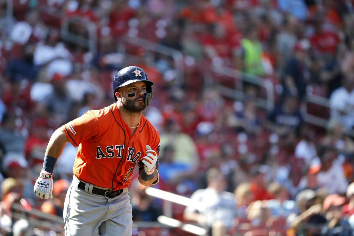 Houston Astros' Jose Altuve singles during the eighth inning of a baseball game against the St. Louis Cardinals Sunday, July 28, 2019, in St. Louis. (AP Photo/Jeff Roberson)