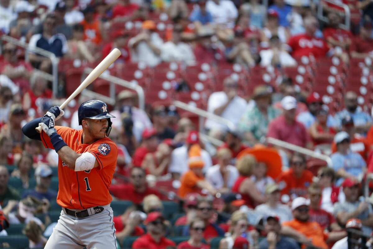 Houston Astros' Carlos Correa bats during a baseball game against the St. Louis Cardinals Sunday, July 28, 2019, in St. Louis. (AP Photo/Jeff Roberson)