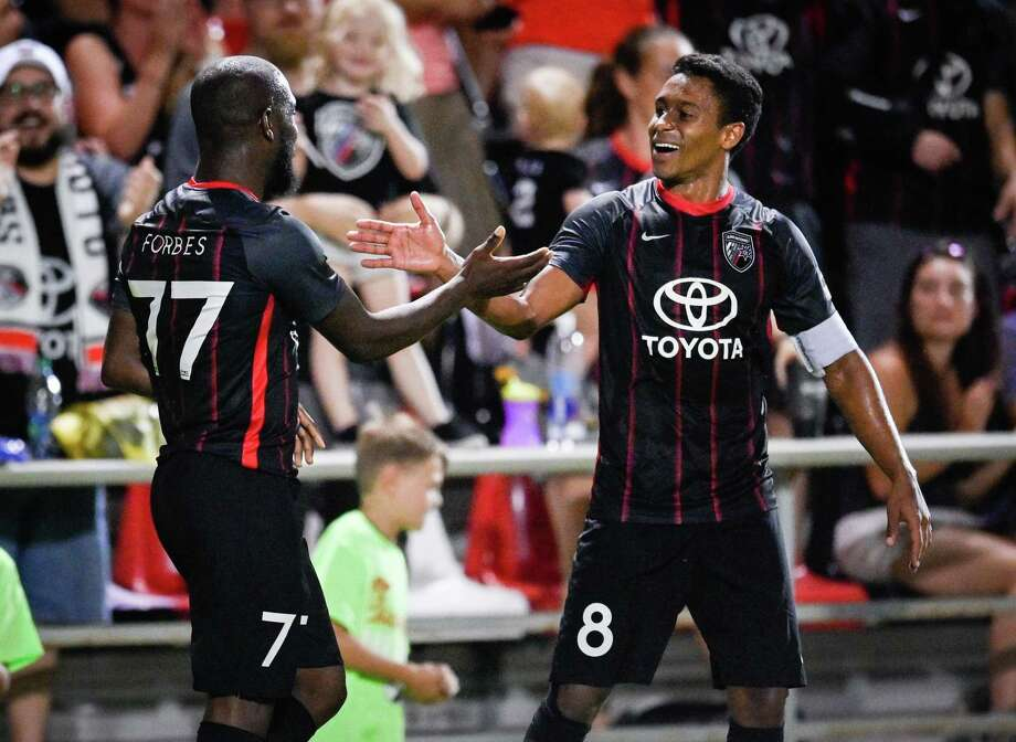 San Antonio FC's Billy Forbes and teammate Pecka (8) celebrate during the team's 3-1 win Saturday vs. Real Monarchs SLC at Toyota Field. Forbes scored a goal as SAFC remained unbeaten in its last five games. Photo: Darren Abate /Contributor / Darren Abate Media, LLC