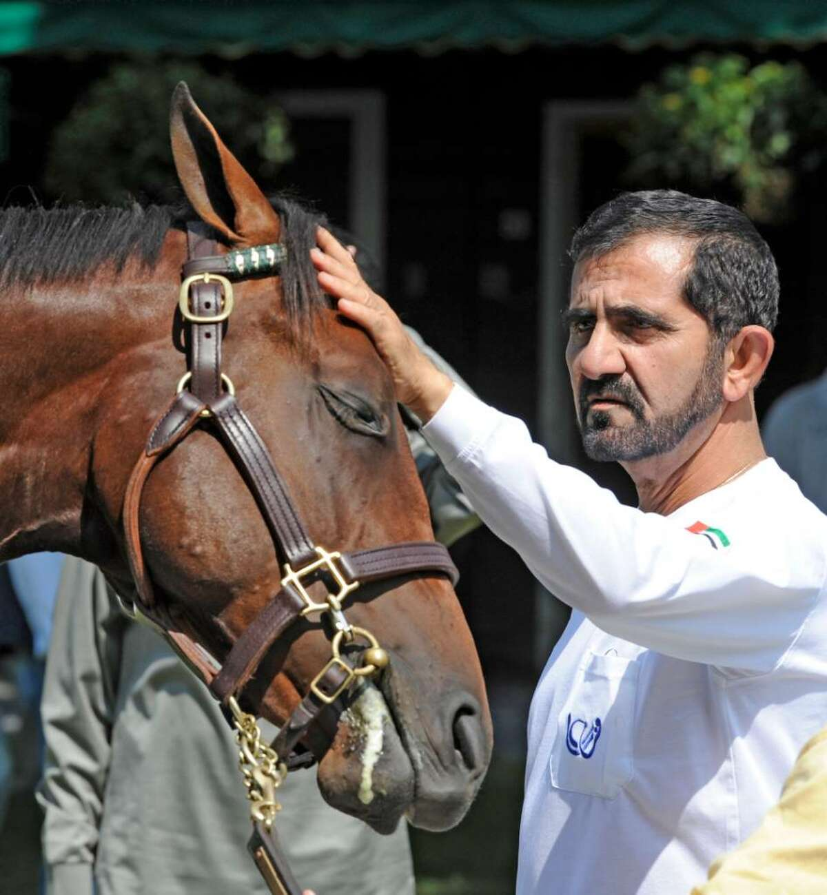 The Emir Sheikh Mohammed bin Rashid Al Maktoum shares a quiet moment with a sales yearling at the Fasig-Tipton sales area while looking over the offerings of different consigners of yearlings. (Skip Dickstein/Times Union)