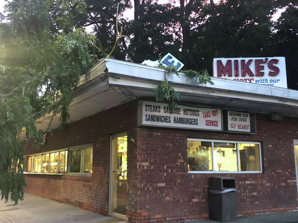 The sign at iconic Mike's Hot Dogs on Union Street in Schenectady suffered damaged in a story July 28, 2019. (Mallory Moench)