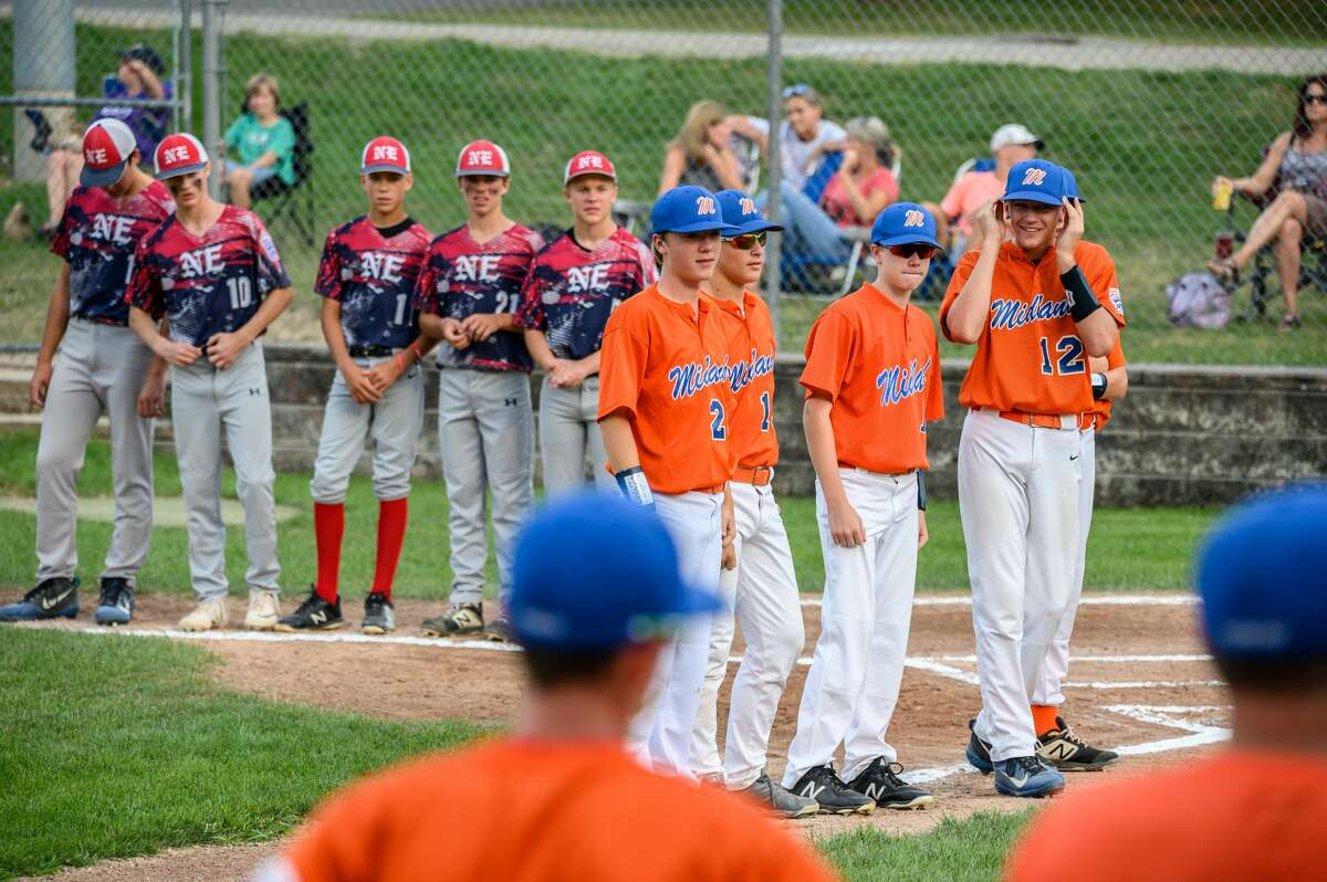 The Midland junior Little League team competes against Grand Rapids Northeastern during the state tournament on Friday, July 26, 2019 in Grand Rapids. (Adam Ferman/for the Daily News)