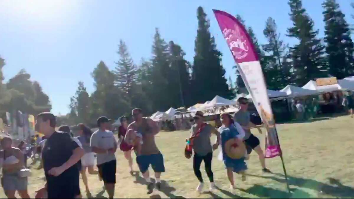 Screenshots of a video showing attendees at Gilroy Garlic Festival running from apparent gunshots Sunday afternoon.