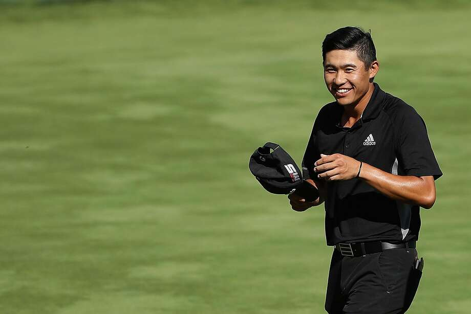 PGA Tour rookie Collin Morikawa reacts after his putt on No. 18 wrapped up a title in Reno. Photo: Christian Petersen / Getty Images