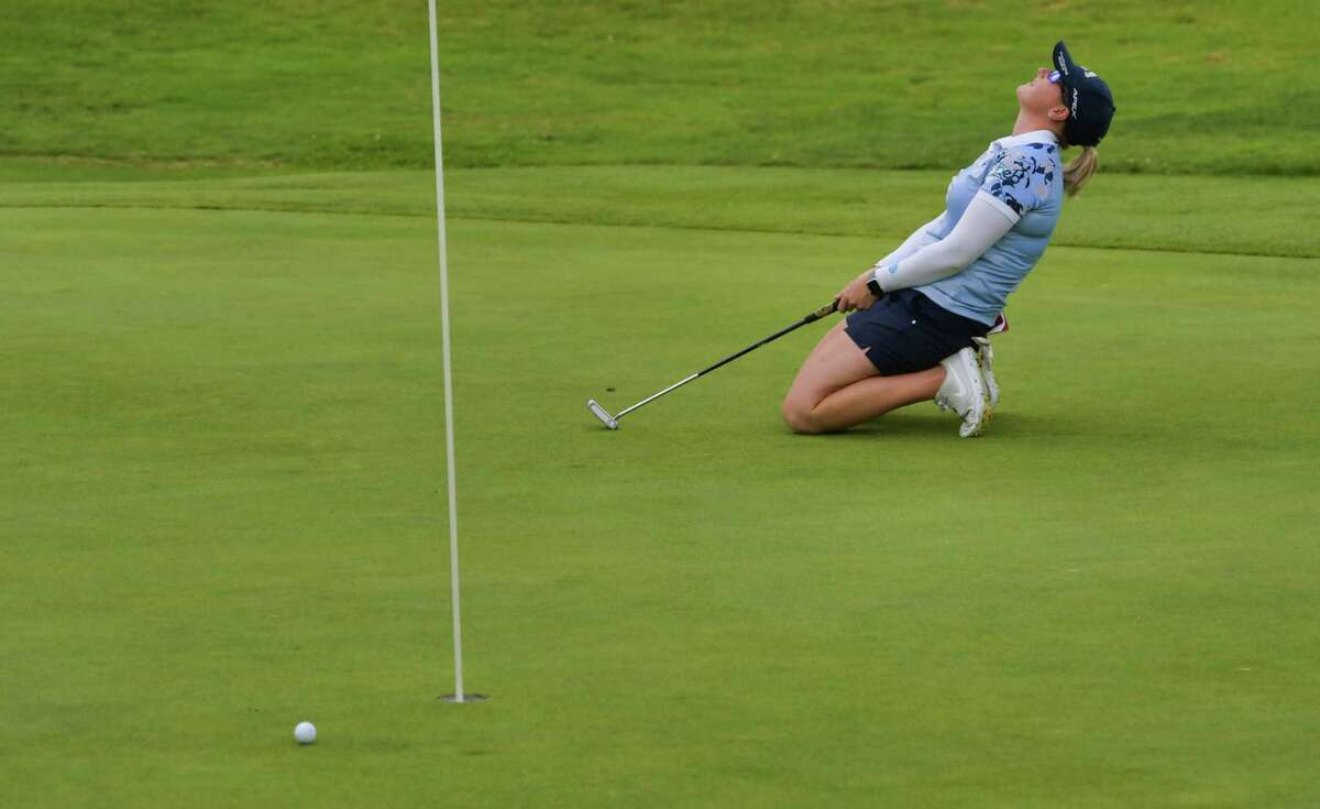 Jordan Britt reacts as her putt misses the hole on the 18th green during the final round of the Symetra Tour event at Capital Hills Golf Course on Sunday, July 28, 2019, in Albany, N.Y. (Paul Buckowski/Times Union)