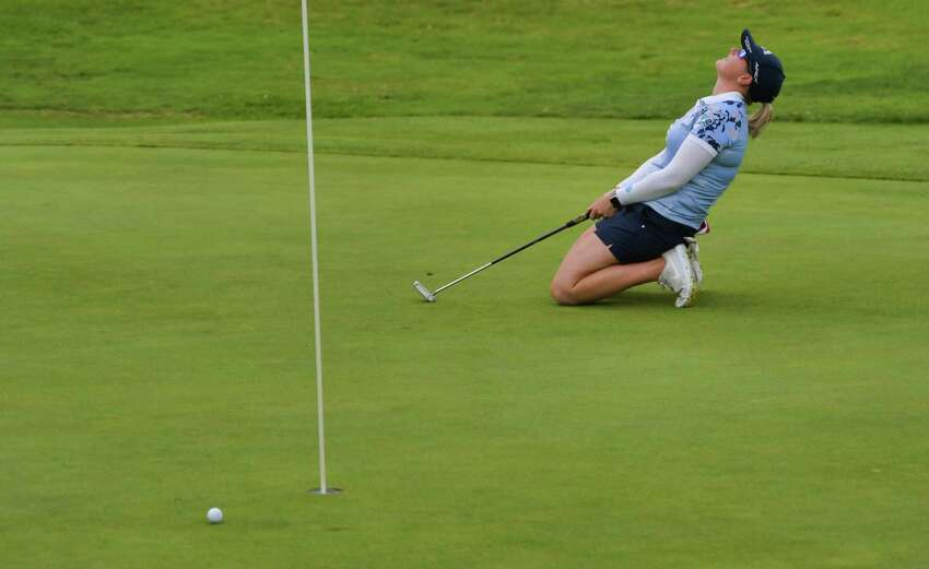 Jordan Britt reacts to a putt during the final round of the Symetra Tour event at Capital Hills Golf Course on Sunday, July 28, 2019. This year's Symetra Tour event, scheduled for May 29-31, has been postponed, and the city has yet to allow others to golf on the course. (Paul Buckowski/Times Union)