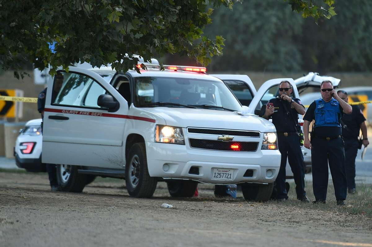 Police presence at the scene of a shooting during the Gilroy Garlic Festival.