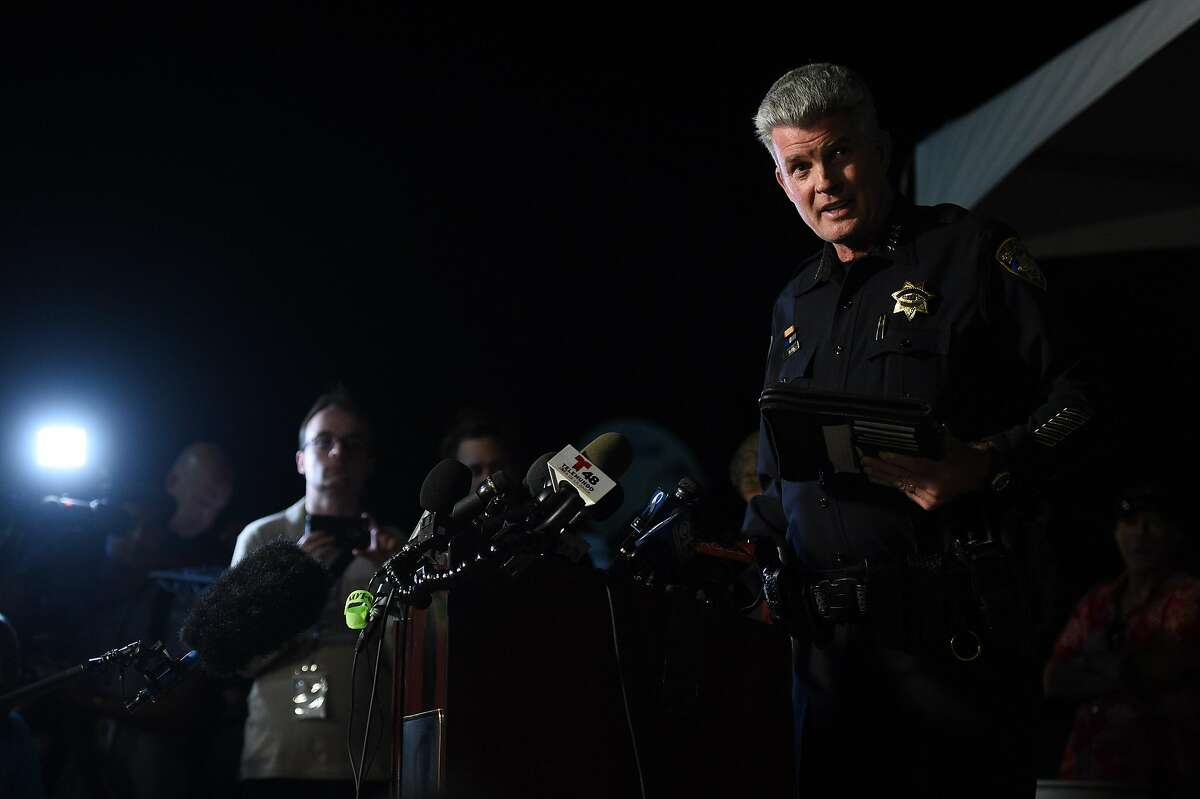 Gilroy Chief of Police Scot Smithee addresses the media at Gavilan College - Gilroy Campus, the site of a reunification area, after a shooting during the Gilroy Garlic Festival on July 28, 2019 in Gilroy, CA.