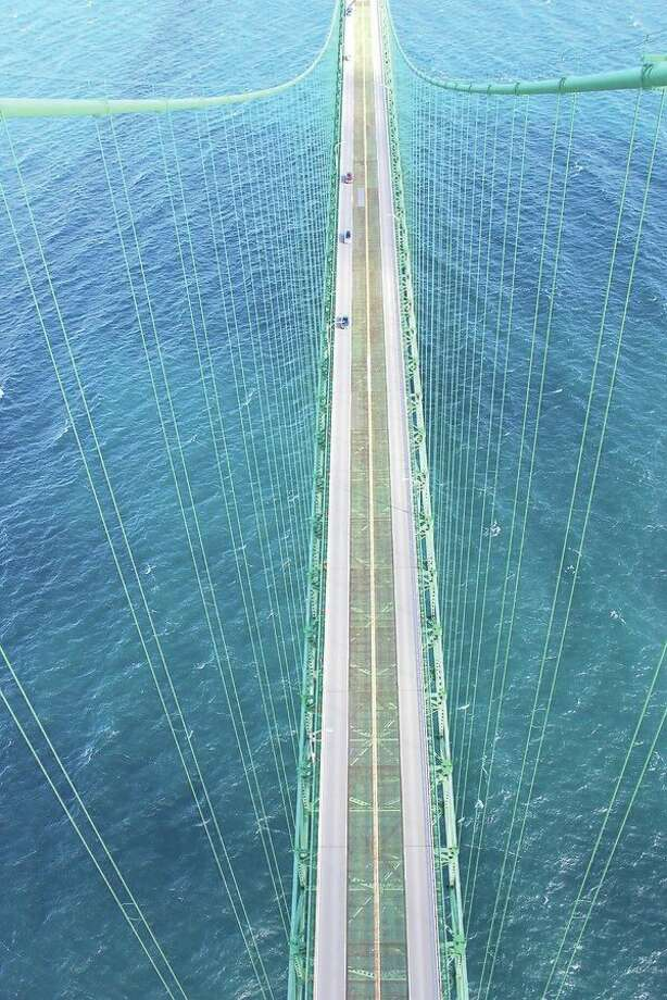 This view atop the Mackinac Bridge can be won in a charity auction. (Submitted photo)