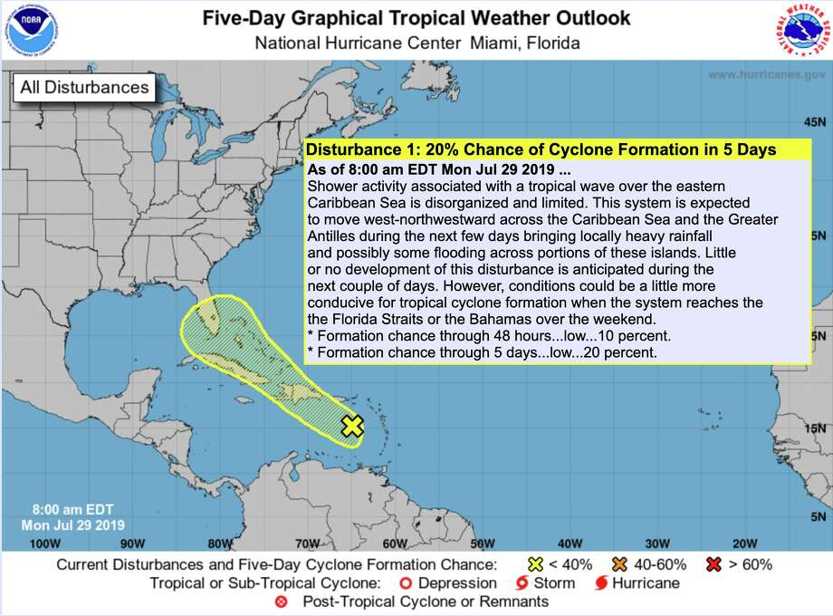 The National Hurricane Center gives a disturbance in the Caribbean Sea a 20 percent chance of development by Saturday, Aug. 3, 2019. It appears to be no immediate threat to Houston. Photo: National Hurricane Center
