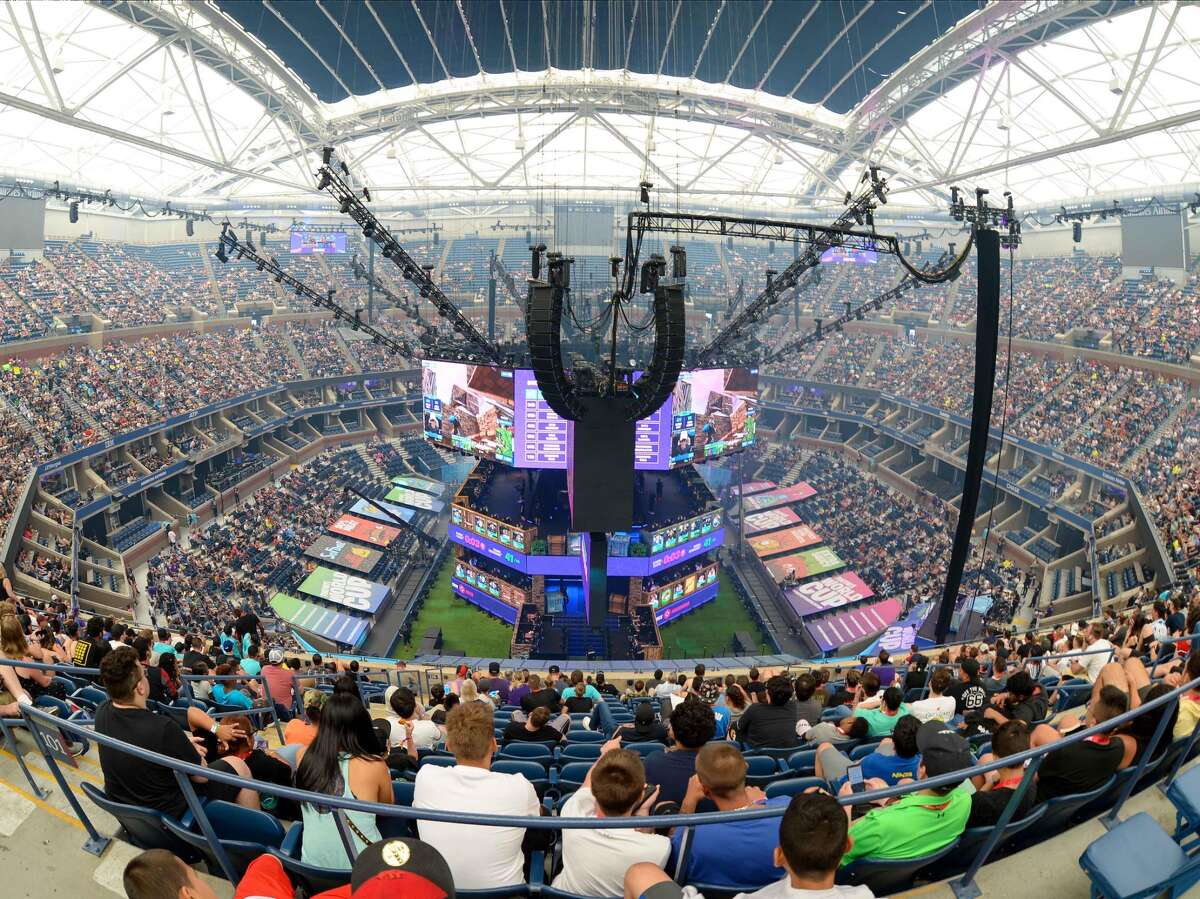 A view of Arthur Ashe Stadium during the Fortnite World Cup Finals. Texas college students will soon compete at the Lonestar Mobile Gaming College Championship.