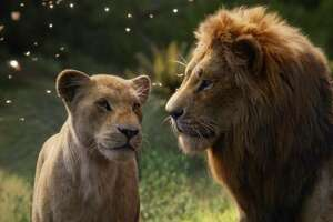 "Nala and Simba get reacquainted in ""The Lion King."""