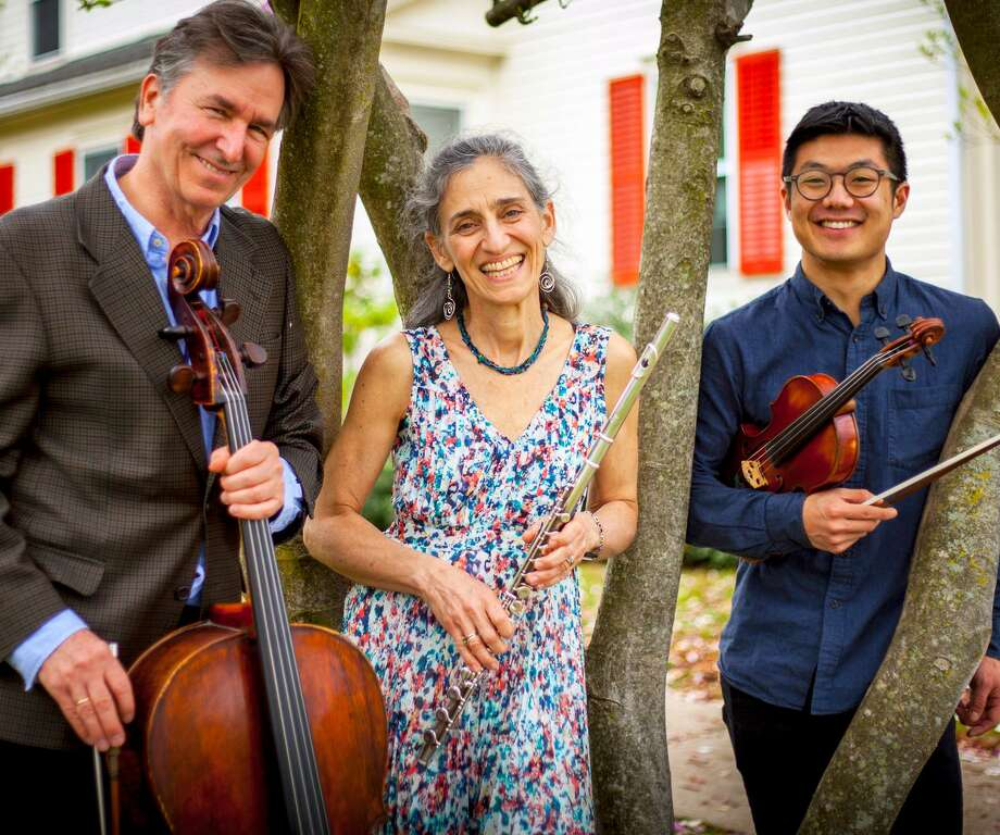 Sherman Chamber Ensemble Artistic Director and cellist Eliot Bailen, left; Susan Rotholz, flutist; and Doori Na, violinist. Photo: Sherman Chamber Ensemble / Contributed Photo