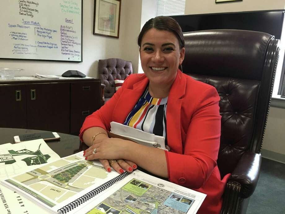 New Britain Mayor Erin Stewart in her City Hall office. Stewart has been a strong proponent of transit-oriented development. Photo: Tom Condon / CT Mirror / Contributed