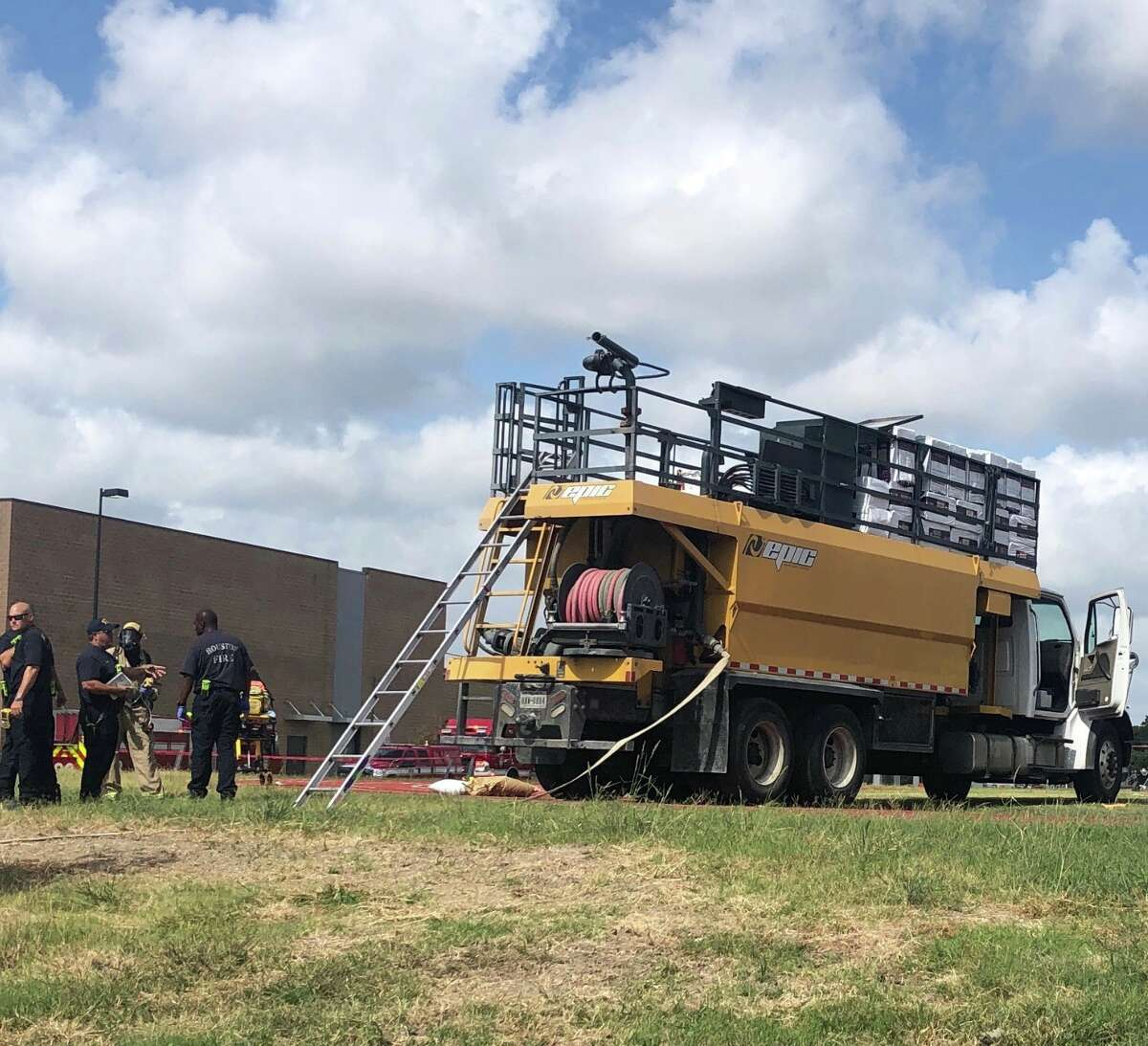 Houston firefighters are on scene after two men died after falling into a truck tank Monday, July 29, 2019.