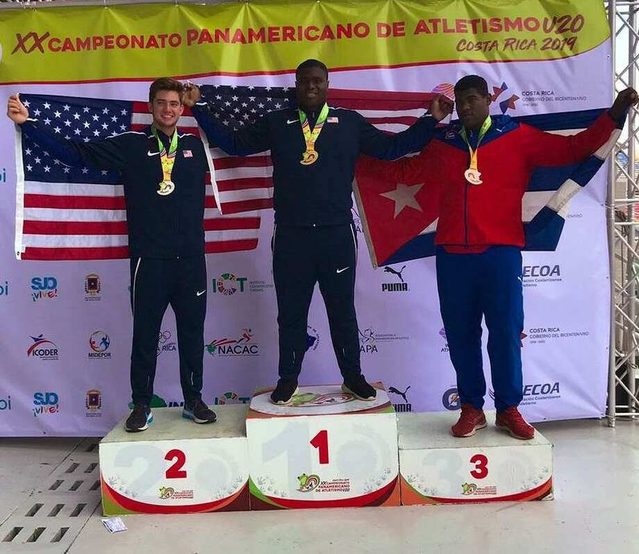Katy Taylor graduate Otito Ogbonnia won the gold medal in the shot put with a mark of 20.72 meters July 19-21 at the Pan American U20 Championships in San Jose, Costa Rica. Ogbonnia will be a sophomore at UCLA, where competes in football and track. Photo: Otito Ogbonnia Twitter / Otito Ogbonnia Twitter