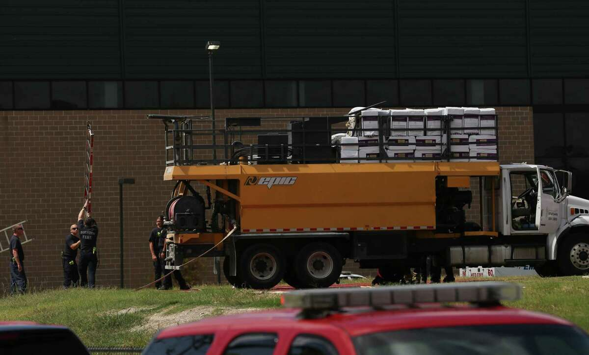 Two adult male contractors were found dead inside the seed truck barrel while working to fertilize the Wisdom High School field on Monday, July 29, 2019, in Houston. HISD Police Chief Paul Cordova said three workers were doing chemical treatment on the field Monday morning. One worker got onto the top of the truck and fell into the barrel, then the second worker went to check on him and also fell into the barrel. The third worker called 911 for help.