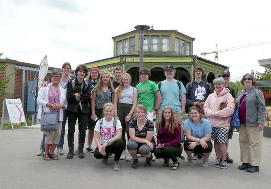 Fourteen Alton High School students and two teachers recently spent three weeks in Markgroeningen, Germany as part of the German American Partnership Program. Pictured at the Stuttgart zoo are, from left, front row, Millie McClaine, Lahne McClaine, Erica Witt, Olivia Scifres, Faith Smith and Ruth Wimp; second row, Bonna Downey, Tom Drake, Chloe Bazzell, Grace Napp, Will Johnson, Alexander Laleman, Noah Parish, and Kyle Ater; back row, Dina Uzler, Joe Whiteside and Corey Fergurson.