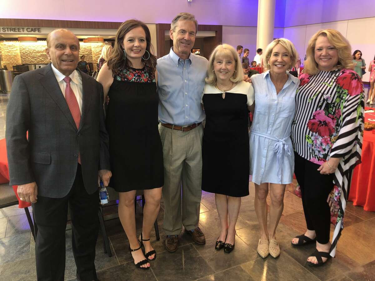 Rhodes: S. Javaid Anwar, from left, Buffy Meador, John Bergman, Karen Rhodes, Nancy Bergman and Michelle Gerald