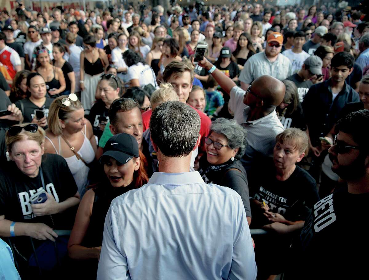 Democratic presidential candidate Beto O'Rourke greets supporters during a campaign rally, Friday, June 28, 2019, in Austin, Texas. (Nick Wagner/Austin American-Statesman via AP)