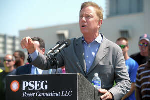 Governor Ned Lamont speaks during the grand opening ceremony for PSEG's Bridgeport Harbor Station Unit #5, the new natural gas-fired power plant now online in Bridgeport, Conn., July 29, 2019.