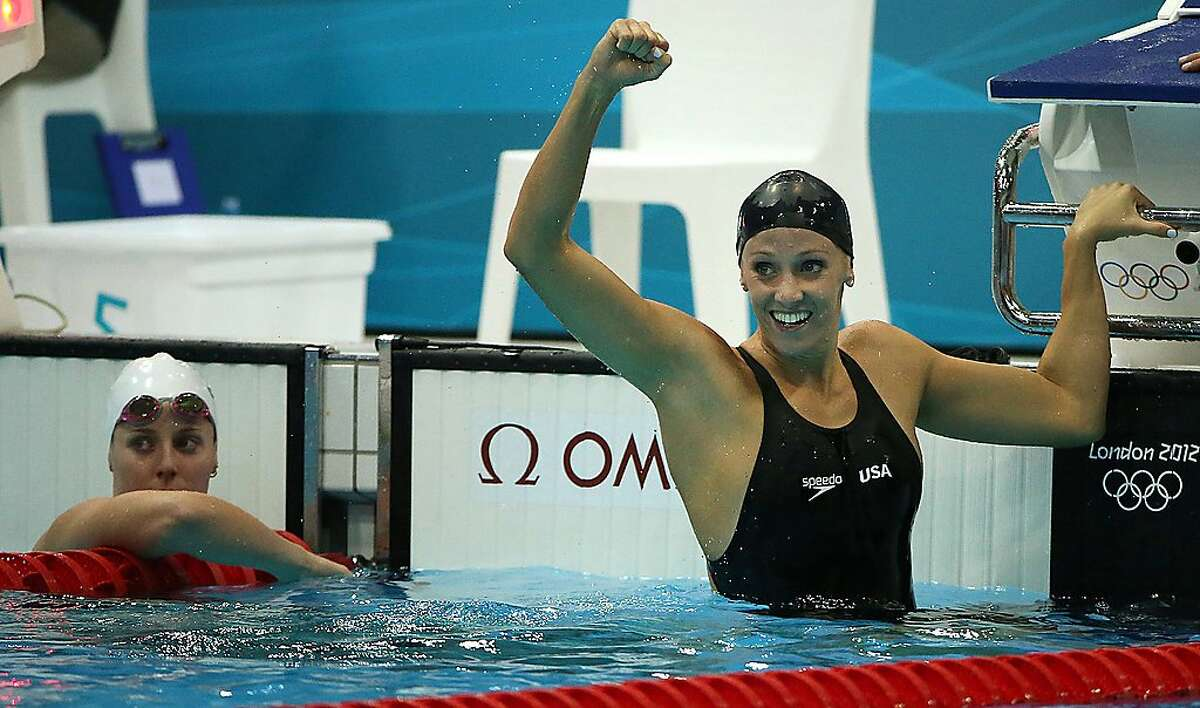 USA's Dana Vollmer wins the 100-meter butterfly at the Aquatics Center during the Summer Olympic Games in London, England, Sunday, July 29, 2012. Vollmer also set a new World Record in 55.98 seconds. (Robert Gauthier/Los Angeles Times/MCT)