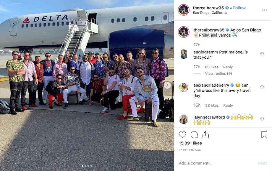 After a 7-6 win against the Padres, the Giants took to Philadelphia dressed as Pablo Sandoval — jewelry, white jeans, and all. Photo: Screenshot Via Instagram