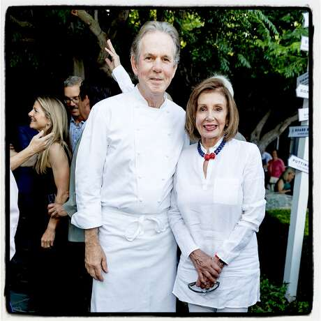 Chef Thomas Keller and Speaker Nancy Pelosi celebrate at Keller's French Laundry 25th anniversary in Yountville. July 6, 2019. Photo: Drew Altizer / Drew Altizer Photography