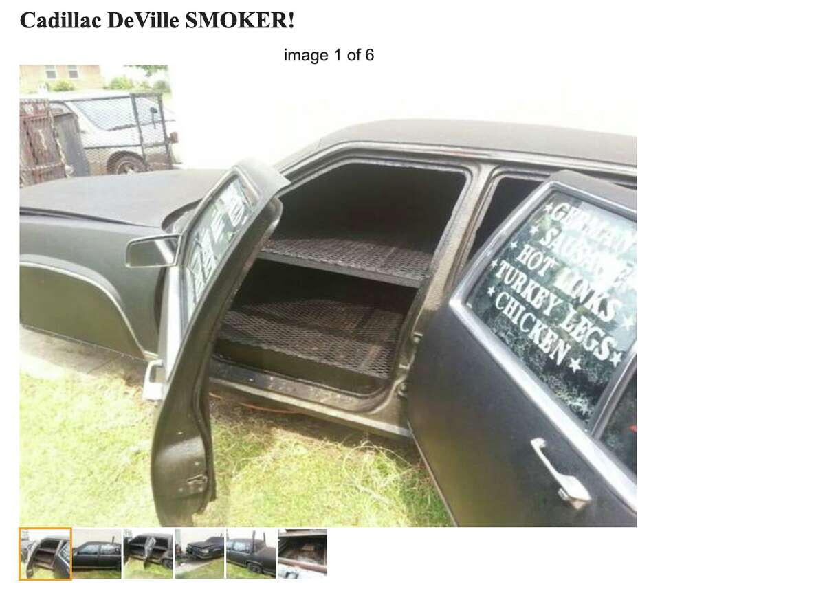 """Cadillac DeVille SMOKER! - Dallas, June 29, 2017 """"This is an custom homemade BBQ trailer grill. 1988 Cadillac Deville Smoker weight 2600 capacity 1300 heavy duty & gagged steel great for parties, weddings or family unions. Has it's own hitch to pull anywhere."""""""