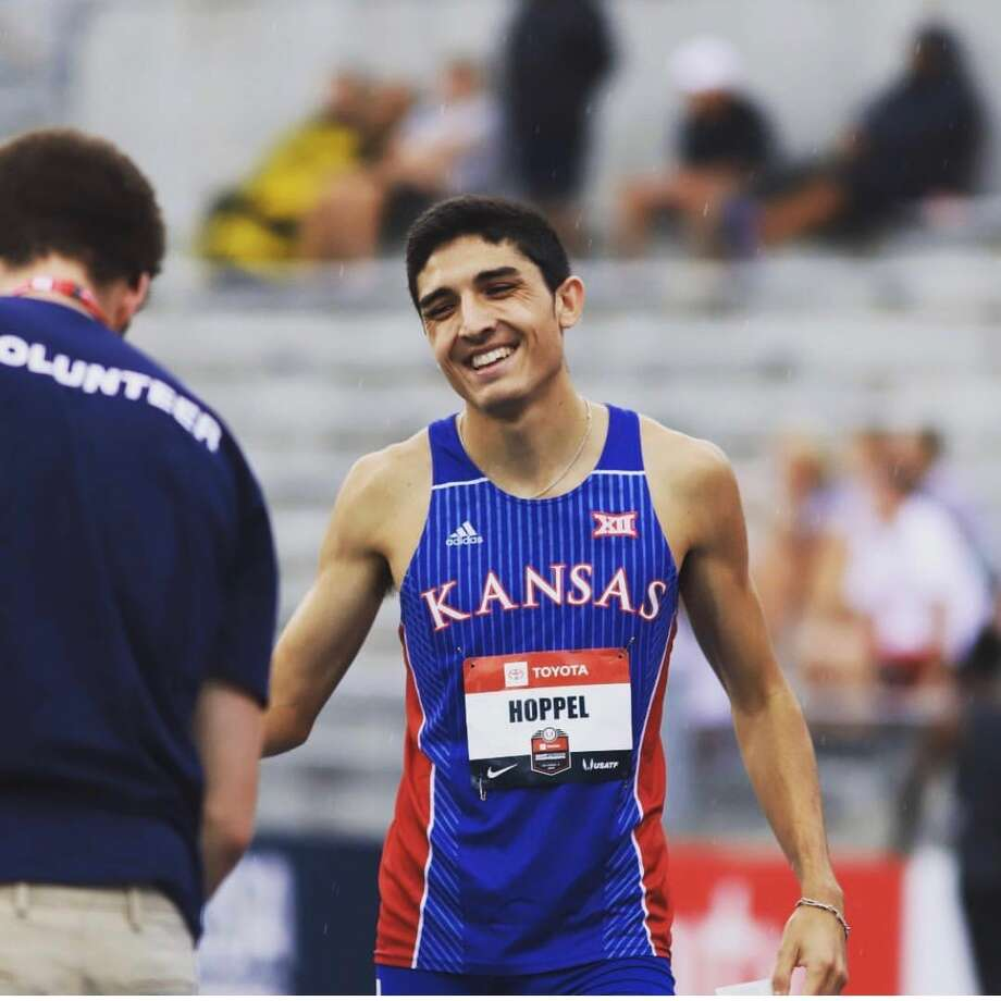 Midland High graduate Bryce Hoppel, seen Sunday night on the track at Drake University in Des Moines, Iowa, placed third in the 800 meters at the U.S. Track and Field Championships and qualified for the 2019 IAAF World Championships. Photo:  Courtesy Of Jay Bendlin