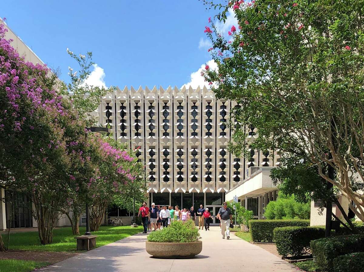 NASA's Christopher Kraft Building -- also called Mission Control -- in Houston was finished in the early 1960s and its front entrance has a distinct midcentury modern look.