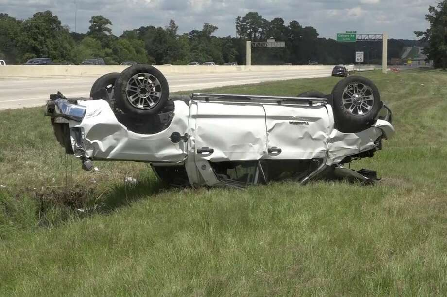 An 8-year-old died Saturday afternoon after a truck she was riding in and another pickup crashed on Interstate 45 near Calvary Road. Two three-year-olds were also hospitalized. Photo: Courtesy Of The Montgomery County Police Reporter