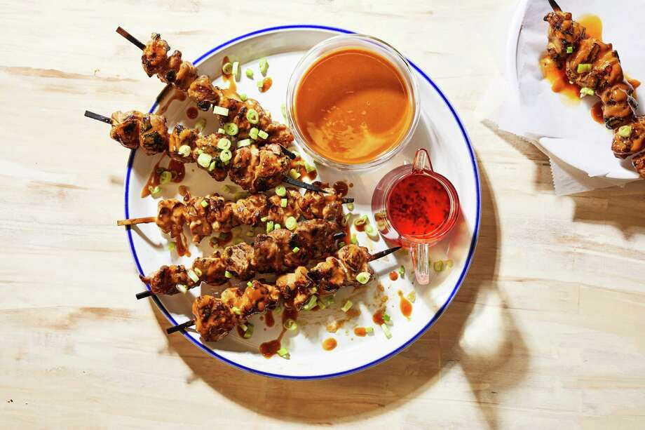 Grilled Bang Bang Chicken. MUST CREDIT: Photo by Stacy Zarin Goldberg for The Washington Post. Photo: Stacy Zarin Goldberg / Stacy Zarin Goldberg/For The Washington Post / For The Washington Post