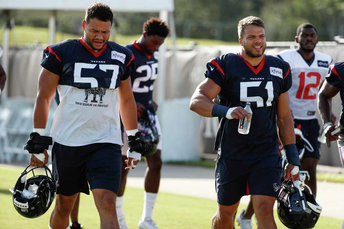 PHOTOS: Texans preseason vs. Rams Houston Texans linebackers Brennan Scarlett (57) and Dylan Cole (51) walk onto the practice field during training camp at the Methodist Training Center on Monday, July 29, 2019, in Houston. >>>See photos from the Texans' preseason finale against the Rams on Thursday, Aug. 29, 2019 ...