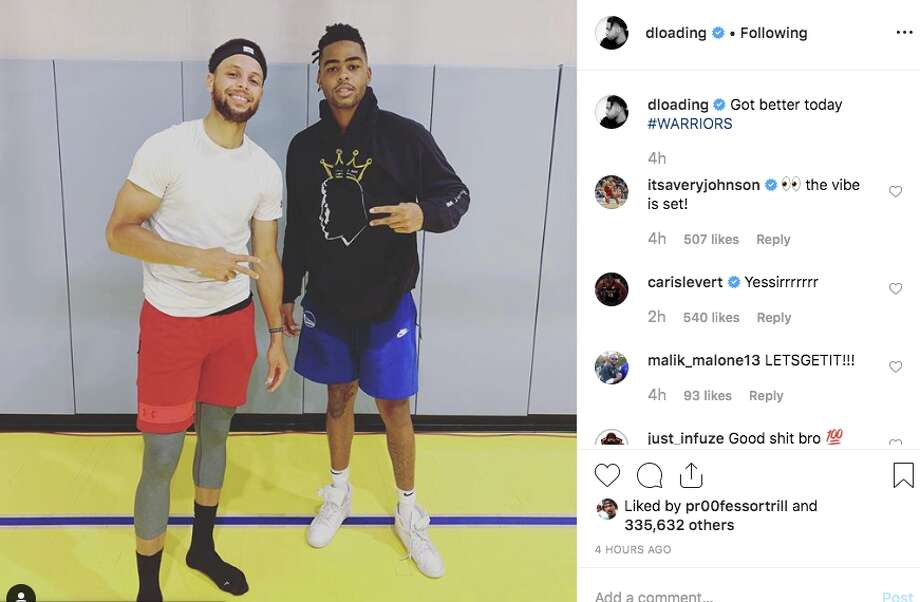 Golden State Warriors stars Steph Curry and D'Angelo Russell start working out together
