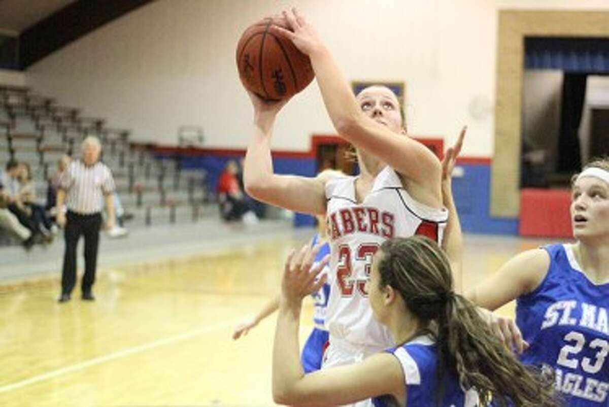 Senior Haley Doyle and Manistee Catholic Central have won six straight games after a season-opening loss. The Sabers are back in action Friday when they host county rival Bear Lake. (Matt Wenzel/News Advocate file photo)