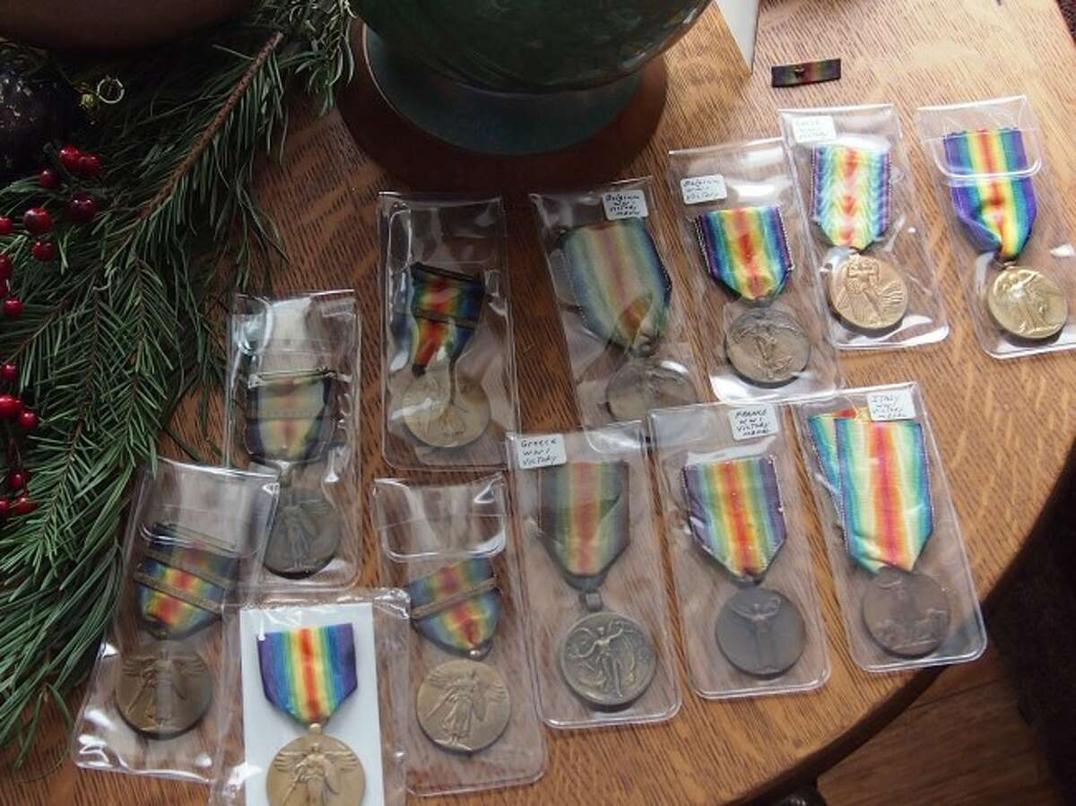 As part of his military uniform collection, Stan Preidis also owns a number of military medals.