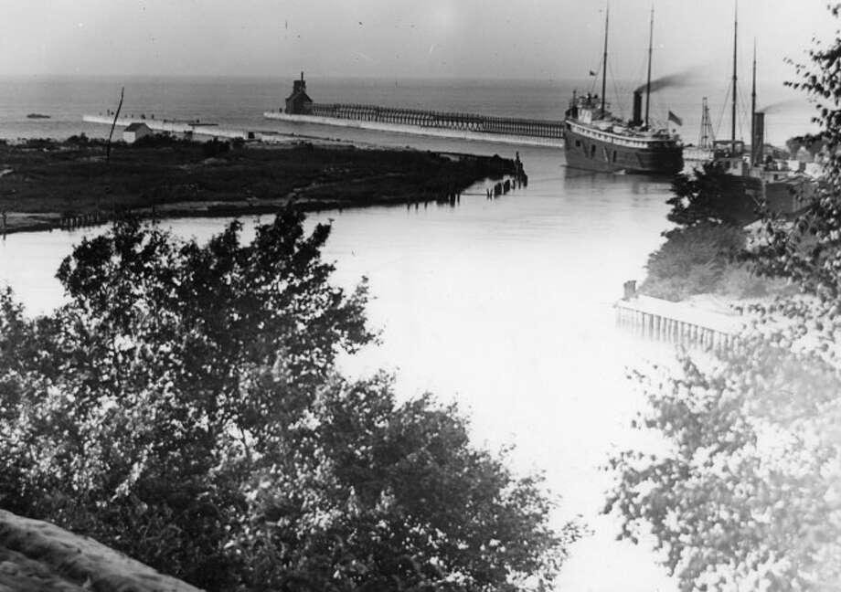 A view of Manistee Harbor from cica 1900.