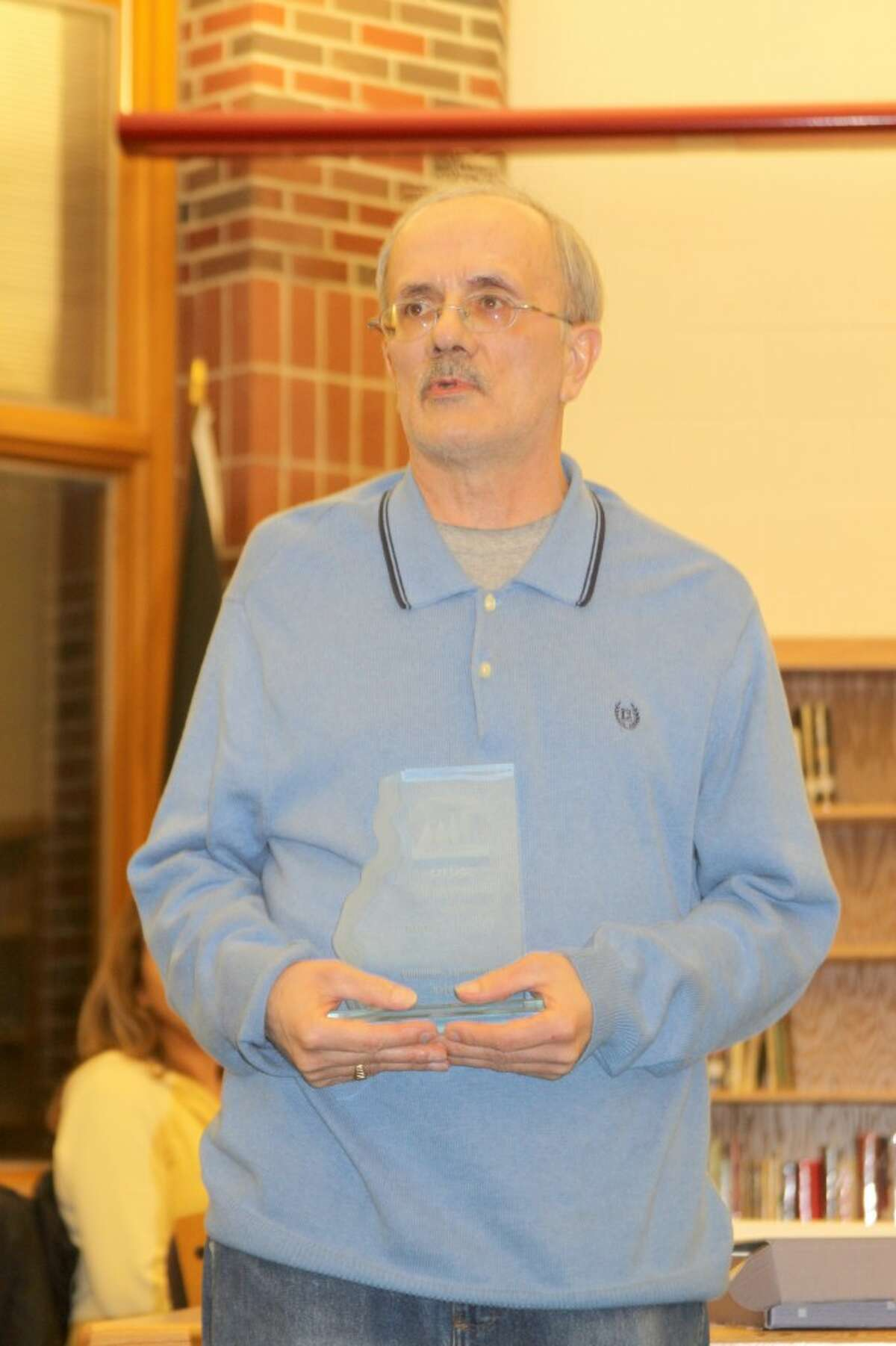 Onekama Consolidated Schools board member and school volunteer Dennis Zupin is shown when he recevied the 2010 Manistee News Advocate Citizen of the year award. Zupin recently underwent a liver transplant and the school is rallying with some fundraisers to help him with expenses as he begins the recovery process. (File photo)