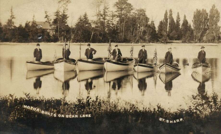 These motorboats are shown on Bear Lake in this 1920s photograph.
