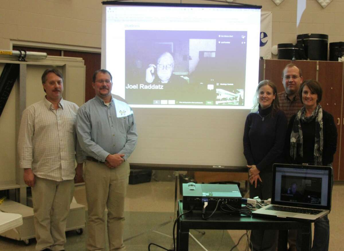The Manistee Area Public Schools Board of Education were honored this week as part of school board appreciation month. Shown left to right are Paul Wehrmeister, Tom Williams, Joel Raddatz (via-telconference), Kris Thompson, Dr. Paul Antal, and Shelley Johnson. (Ken Grabowski/News Advocate)