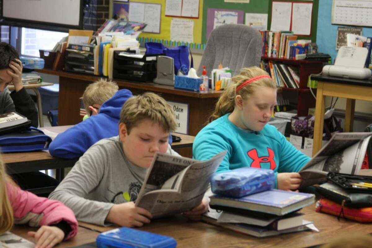 Kennedy Elementary School students from Stephanie Oden's class take part in the Newspapers in Education five days a week.