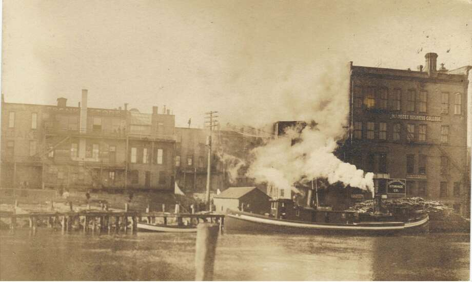 A late 1800s view of the riverfront in Manistee. (Courtesy Photo/Manistee County Historical Museum)