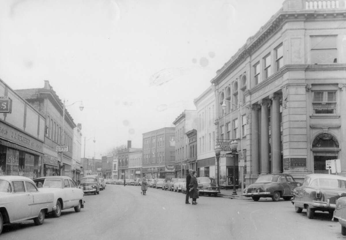 Looking east on River Street in this 1950s photograph.