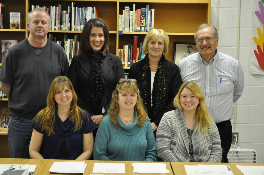Members of the Kaleva Norman Dickson Board of Education were honored on Monday evening as part of School Board Appreciation Month. Shown in the front row left to right are Amy Young, Kathleen Fairbanks and Heather Stapley. Back row left to right are Steven MacNeil, Rebbecca Biller Jeanette Somsel and Dan Holtz. (Ken Grabowski/News Advocate)