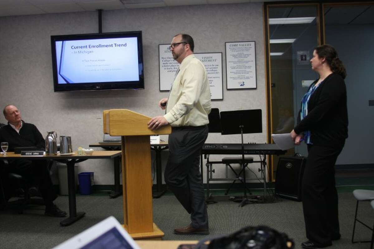 WSCC Dean of Student Services Chad Inabinet and Director of Enrollment Management Shelby Hughes give a report to the board of trustees on what the college is doing to retain students.