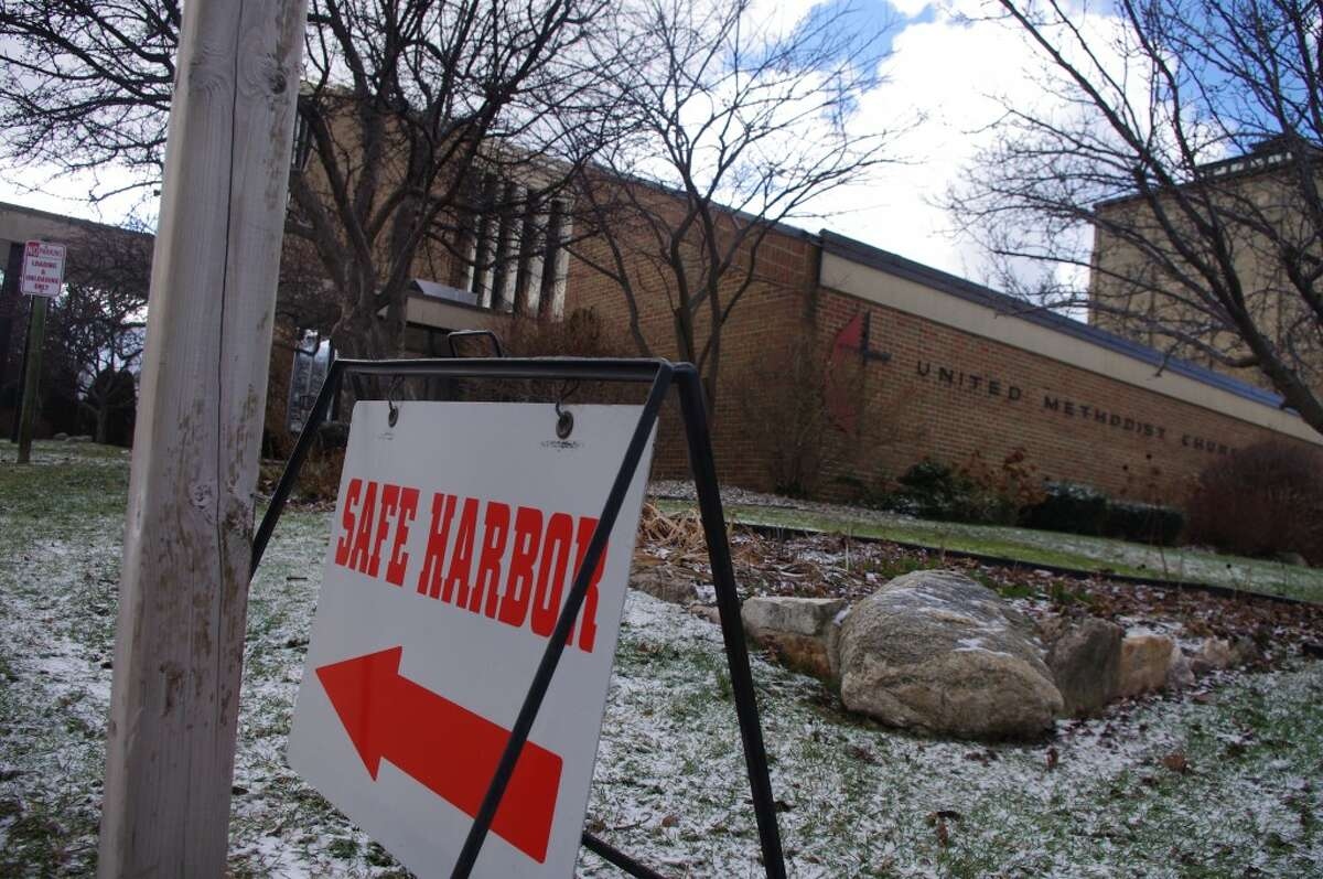 The most noticeable sign of homeless people in Manistee is the Safe Harbor Program. For three years it has rotated around several churches and other public buildings to offer nightly shelter for anyone who needs it. This week Safe Harbor is at Manistee United Methodist Church. (Dave Yarnell/News Advocate)