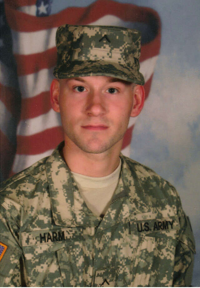 Eric Lewis Harm, pictured in Army fatigues, took his own life on Dec. 28 in Manistee County. He was a decorated veteran of Afghanistan. (Courtesy Photo)